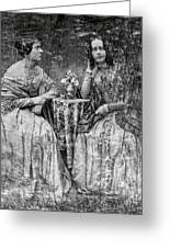 Two Young Antebellum Ladies Almost Lost To Time Greeting Card by Daniel Hagerman