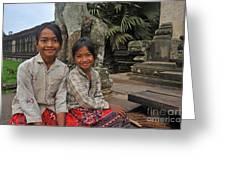Two Young Cambodian Girls In Angkor Wat Greeting Card by Sami Sarkis