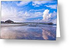 Tybee Island Pier On A Beautiful Afternoon Greeting Card by Mark E Tisdale