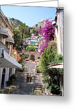 Typical Street Of Taormina Greeting Card by Alberto Pala