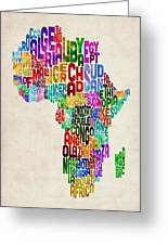 Typography Map Of Africa Greeting Card by Michael Tompsett