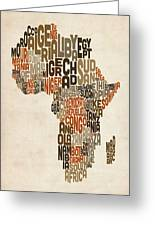 Typography Text Map Of Africa Greeting Card by Michael Tompsett