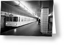 u-bahn train pulling in to ubahn station Berlin Germany Greeting Card by Joe Fox