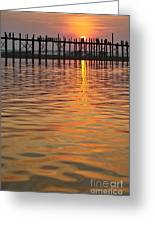 U Bein Bridge In Mandalay Greeting Card by Juergen Ritterbach