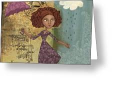 Umbrella Girl Greeting Card by Karyn Lewis Bonfiglio