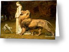 Una and Lion from Spensers Faerie Queene Greeting Card by Briton Riviere