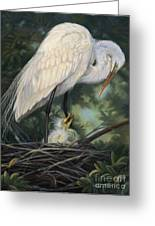 Under Moms Watchful Eye Greeting Card by Deb LaFogg-Docherty