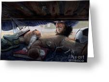 Under The Bed Greeting Card by Isabella Kung