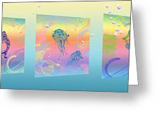 Under The Sea Triptych Greeting Card by Cheryl Young