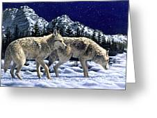 Wolves - Unfamiliar Territory Greeting Card by Crista Forest
