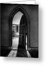 Unhinged - Old Gothic Door In An Abandoned Castle Greeting Card by Gary Heller
