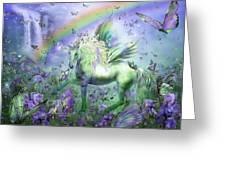 Unicorn Of The Butterflies Greeting Card by Carol Cavalaris