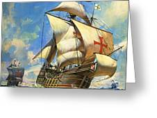 Unidentified Sailing Ships Greeting Card by Andrew Howat
