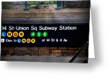 Union Square Subway Station Greeting Card by Susan Candelario