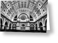 Union Station Lobby Black and White Greeting Card by Kristin Elmquist
