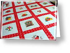 Unique Quilt With Christmas Season Images Greeting Card by Barbara Griffin