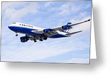 United Airlines Boeing 747 Airplane Flying Greeting Card by Paul Velgos