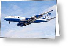 United Airlines Boeing 747 Airplane Landing Greeting Card by Paul Velgos