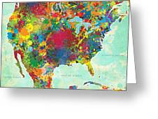 United States Map Greeting Card by Gary Grayson