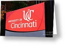 University Of Cincinnati Sign Greeting Card by Paul Velgos