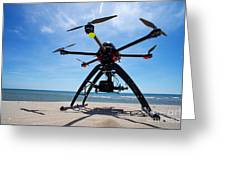 Unmanned Aerial Vehicle On Beach Greeting Card by Sami Sarkis