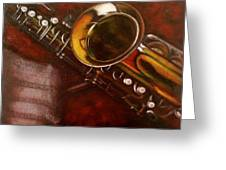 Unprotected Sax Greeting Card by Sean Connolly