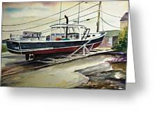 Up for repairs in Perkins Cove Greeting Card by Scott Nelson