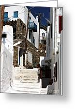 Up The White Stairs In Mykonos Greeting Card by John Rizzuto