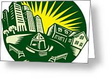 Urban Building Park House Woodcut Greeting Card by Aloysius Patrimonio