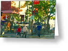 Urban Explorers Couple Walking Downtown Streets Of Montreal Summer Scenes Carole Spandau Greeting Card by Carole Spandau