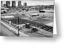 urban farm on unused lot at concord pacific place at false creek Vancouver BC Canada Greeting Card by Joe Fox