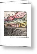 Urban Sunset Greeting Card by Aruna Samivelu
