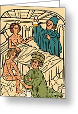 Uroscopy Patients With Syphilis 1497 Greeting Card by Science Source