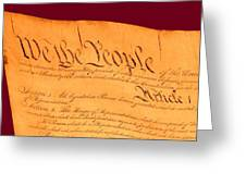 Us Constitution Closeup Violet Red Bacjground Greeting Card by L Brown