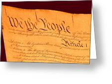 Us Constitution Closeup Red Brown Background Greeting Card by L Brown