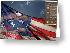Us Veterans Burial Flag 3 Panel Composite Digital Art Greeting Card by Thomas Woolworth