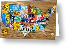 Usa License Plate Map Car Number Tag Art On Light Brown Stained Board Greeting Card by Design Turnpike
