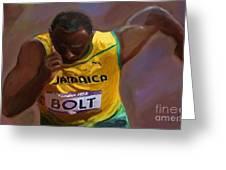 Usain Bolt 2012 Olympics Greeting Card by Vannetta Ferguson