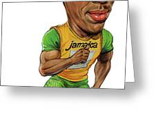 Usain Bolt Greeting Card by Art