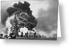 Uss Bunker Hill Kamikaze Attack Greeting Card by War Is Hell Store