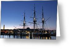 Uss Constitution And Bunker Hill Monument Greeting Card by Juergen Roth