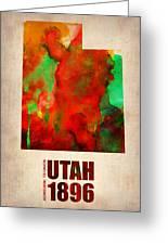 Utah Watercolor Map Greeting Card by Naxart Studio