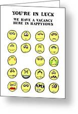 Vacancy In Happytown Greeting Card by Mark Armstrong