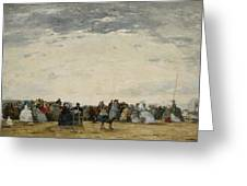 Vacationers on the Beach at Trouville Greeting Card by Eugene Louis Boudin