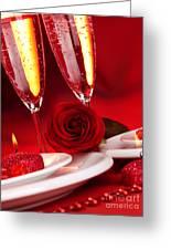 Valentine Day Dinner Greeting Card by Anna Omelchenko