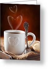 Valentine's Day Coffee Greeting Card by Amanda Elwell