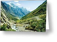 Valley Of River Ganga In Himalyas Mountain Greeting Card by Raimond Klavins