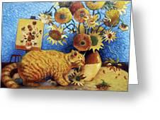 Van Gogh's Bad Cat Greeting Card by Eve Riser Roberts