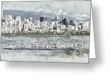Vancouver Skyline Greeting Card by Maryam Mughal