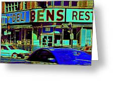 Vanishing Montreal Memories Ben's Historical Restaurant Window So Many Stories To Tell Greeting Card by Carole Spandau